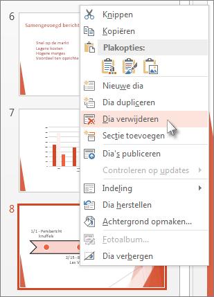 Klik in PowerPoint met de rechtermuisknop op de miniatuur van een dia en klik vervolgens op Dia verwijderen.