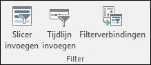 Optie voor slicer invoegen via Hulpmiddelen voor draaitabellen > Analyseren > Filter