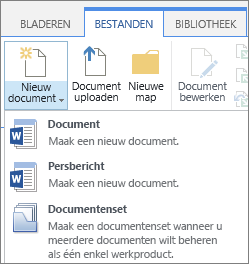 Knop Nieuw document met vervolgkeuzelijst op het lint