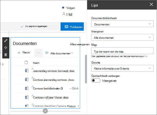 Het webonderdeel lijst in een voorbeeld van een moderne team site in SharePoint Online