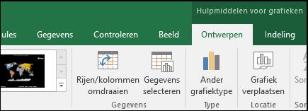 Gereedschappen voor kaartgrafieken in het lint in Excel