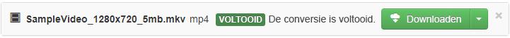 Wanneer de conversie is voltooid, wordt er een groene Download-knop weergegeven waarmee u het geconverteerde mediabestand weer naar uw pc kunt kopiëren