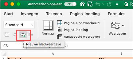 Hiermee wordt een Excel-spreadsheet weergegeven