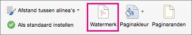De optie Watermerk is gemarkeerd op het tabblad Ontwerpen.