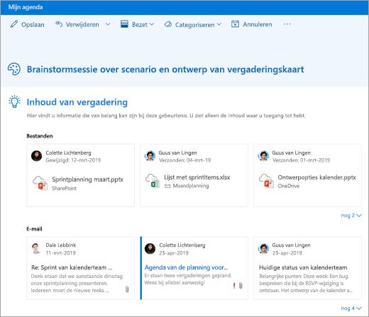 Een schermafbeelding van vergaderings inzichten