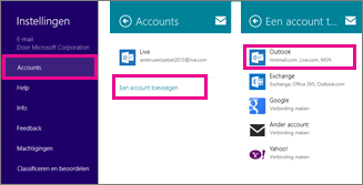 op windows 8 mail-menupagina's: instellingen > accounts > een account toevoegen