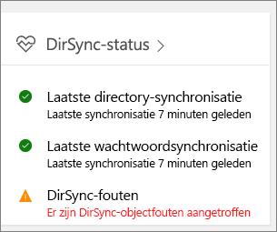 De tegel DirSync-status in het beheercentrumvoorbeeld