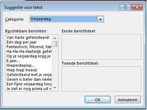 Standaardtekst voor wenskaarten in Publisher 2013