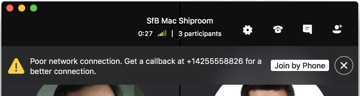 Melding voor terugbellen de gebruiker wanneer u zich in een slechte netwerkverbinding