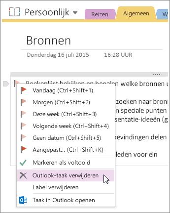 Schermafbeelding van het verwijderen van een Outlook-taak in OneNote 2016.
