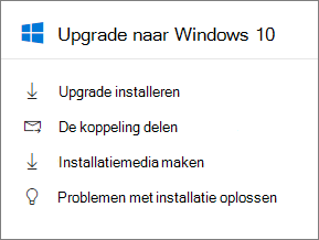 Upgrade naar Windows 10-kaart in het beheercentrum.