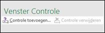 Klik op Controle toevoegen om een controle aan uw spreadsheet toe te voegen