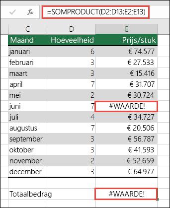 De formule in cel E15 bevat een #WAARDE!-fout omdat kolom E een #WAARDE!-fout bevat.