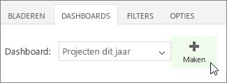 Knop Maken op het tabblad Dashboards