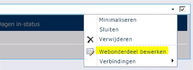 Opdracht Webonderdeel bewerken in het menu Webonderdeel