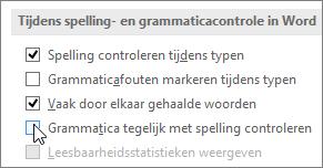 Selectievakjes voor grammaticacontrole