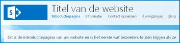 Screenshot van de standaardstartpagina van een openbare website in SharePoint Online