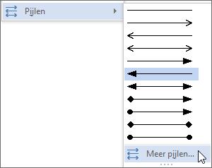 Klikken op Meer pijlen om een lijn of pijl aan te passen