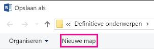 Klik op Nieuwe map in het dialoogvenster Opslaan als.