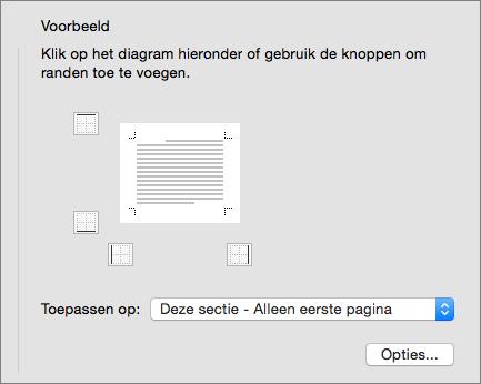 Het vak Voorbeeld in het dialoogvenster Randen en arcering wordt weergegeven.