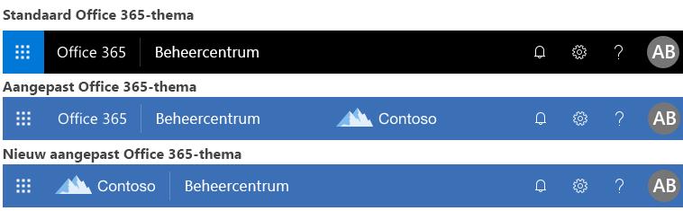 Voorbeeld van wijziging van het Office 365-thema
