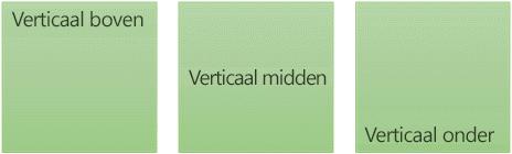 Drie opties voor verticaal uitlijnen van tekst: boven, midden en onder