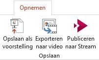 Het opslaan als weergeven en exporteren naar Video opdrachten op het tabblad opnemen in PowerPoint 2016