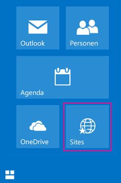 De tegel Sites selecteren om een lijst met SharePoint-sites te zien