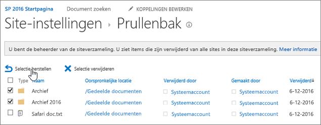 Prullenbak tweede stadium van SharePoint met gemarkeerde knop Terugzetten