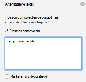 Excel 365 dialoog venster alternatieve tekst schrijven voor vormen