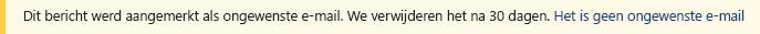 Schermafbeelding van de balk met gele veiligheid in een Outlook-bericht.