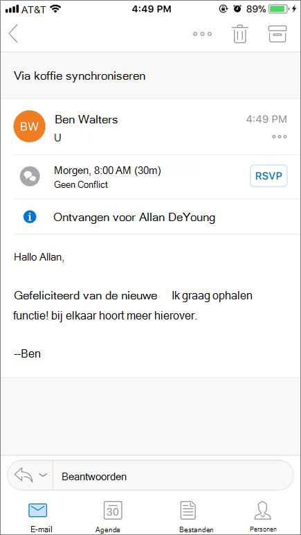 Schermafbeelding ziet u mobiele apparaatscherm met e-mailbericht.