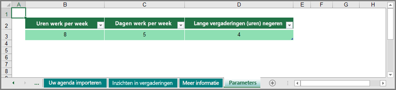 werkpatronen aanpassen in het werkblad Parameters