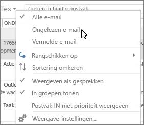 Schermafbeelding waarin de optie Ongelezen e-mail is geselecteerd in de vervolgkeuzelijst Alles op het lint van het Postvak IN.