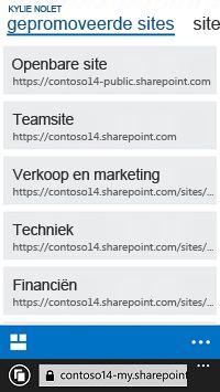 Gepromoveerde sites in SharePoint Online op een mobiel apparaat