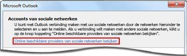 Koppeling naar provider van Outlook Connector voor sociale netwerken