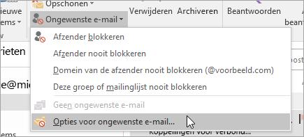 Een schermafbeelding van de knop Opties voor ongewenste E-mail