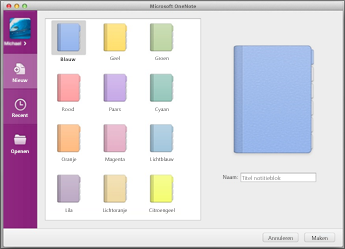Hier kunt u nieuwe notitieblokken openen of maken.