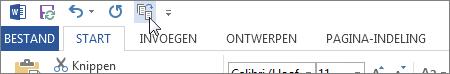 De knop Eén pagina verkleinen op de werkbalk Snelle toegang