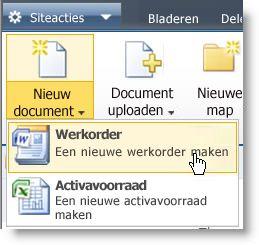 Inhoudstypen in het menu Nieuw voor een lijst of bibliotheek.