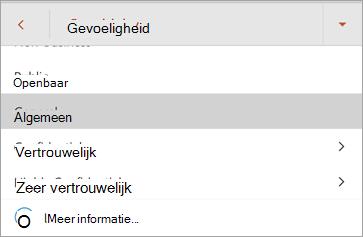 Schermafbeelding van gevoeligheidslabels in Office voor Android