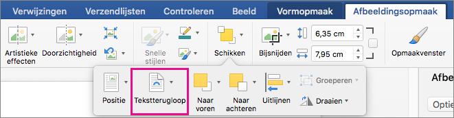 Klik op Tekstterugloop om te selecteren hoe tekst terugloopt rond een afbeelding of tekenobject.