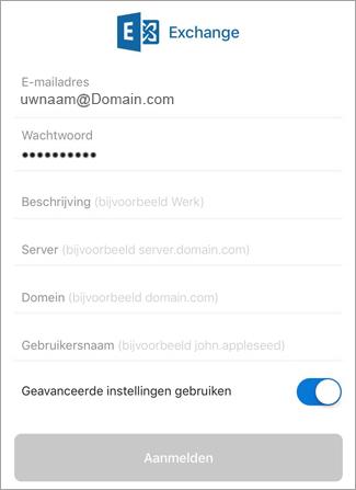 Voer het wachtwoord voor Exchange in