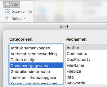 Schermafbeelding met veldcodes die zijn gefilterd op de categorie Documentgegevens