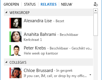 Schermafbeelding van het sorteren van contactpersonen op relatie