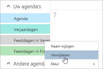 Schermafbeelding van de optie van de agenda verwijderen