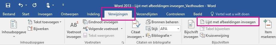 De opdracht Lijst met afbeeldingen invoegen bevindt zich op het tabblad Verwijzingen.