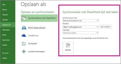 Afbeelding van synchronisatie met SharePoint in de weergave Backstage