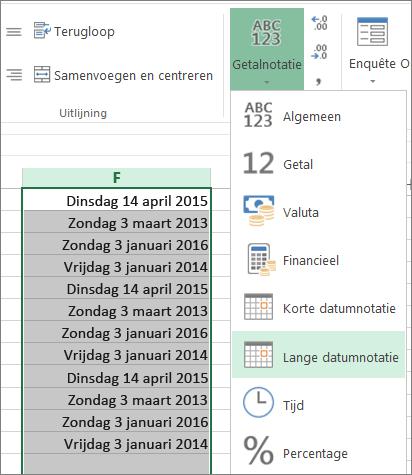 knop op het lint voor wijzigen in lange datumnotatie