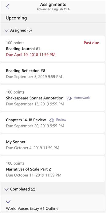 Leerling/student-weergave van opdrachten